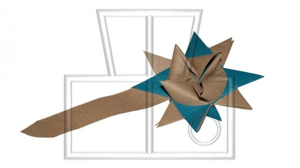 blau-braune Sternschnuppe mit Schweif aus Papier