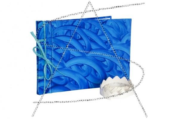 blaues Fotoalbum mit Fotoecken