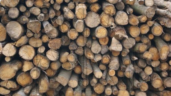 gestapeltes Brennholz, rund