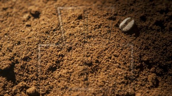 Makro von Kaffeepulver mit einzelner Bohne