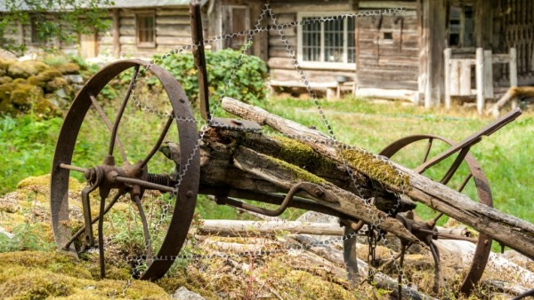 Reste des hinteren Teils eines alten Holzkarrens