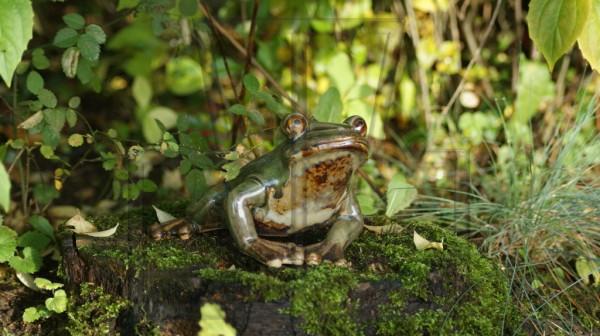 Frosch aus Porzellan auf vermosten Baumstumpf